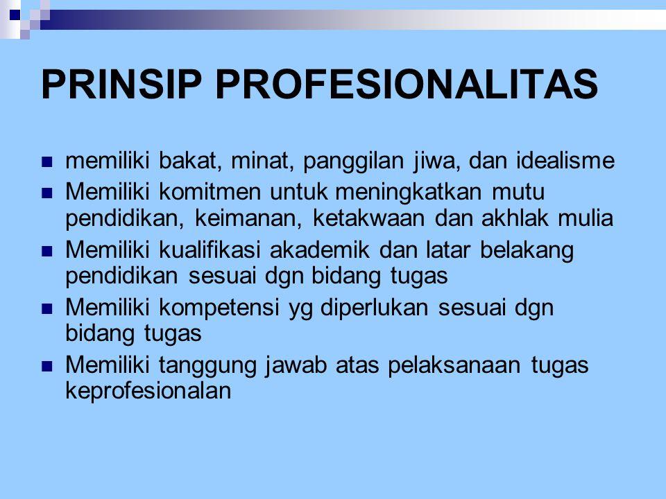 PRINSIP PROFESIONALITAS  memiliki bakat, minat, panggilan jiwa, dan idealisme  Memiliki komitmen untuk meningkatkan mutu pendidikan, keimanan, ketak