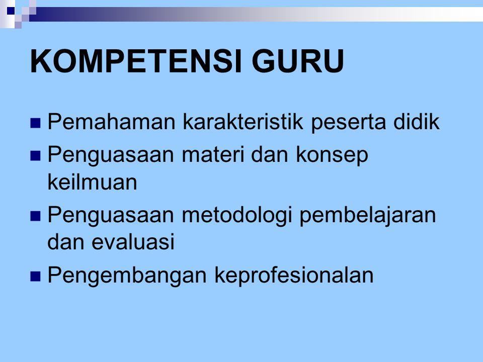 KOMPETENSI GURU  Pemahaman karakteristik peserta didik  Penguasaan materi dan konsep keilmuan  Penguasaan metodologi pembelajaran dan evaluasi  Pe