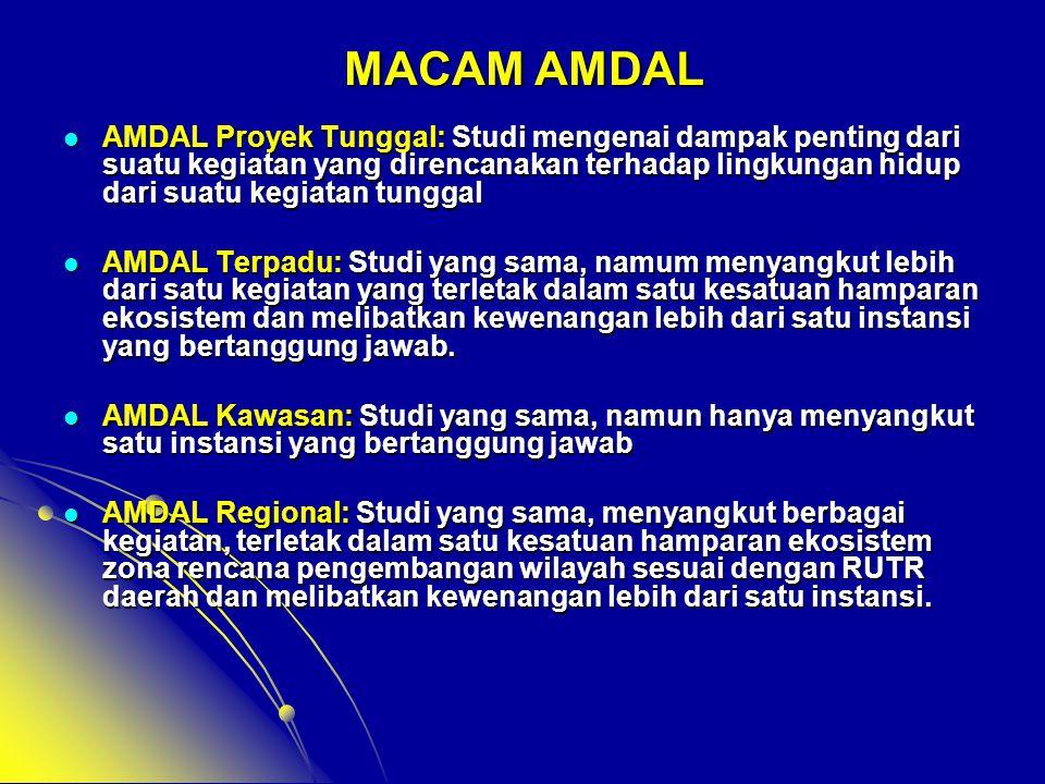 MACAM AMDAL  AMDAL Proyek Tunggal: Studi mengenai dampak penting dari suatu kegiatan yang direncanakan terhadap lingkungan hidup dari suatu kegiatan