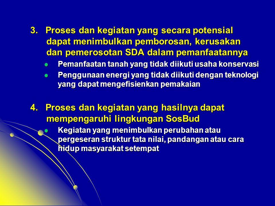 3. Proses dan kegiatan yang secara potensial dapat menimbulkan pemborosan, kerusakan dan pemerosotan SDA dalam pemanfaatannya  Pemanfaatan tanah yang