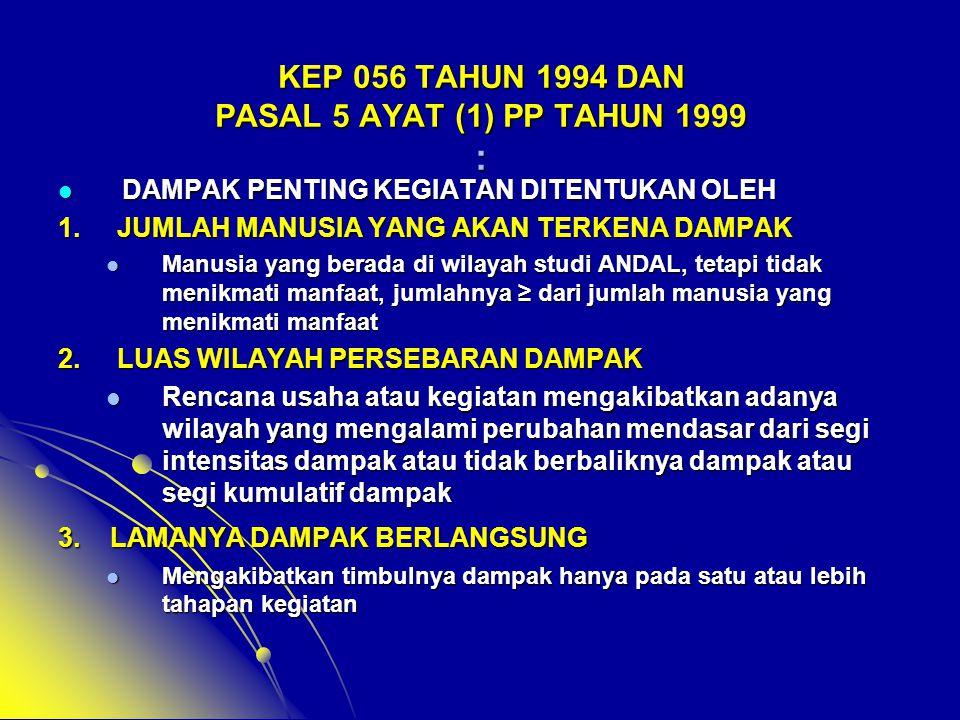 KEP 056 TAHUN 1994 DAN PASAL 5 AYAT (1) PP TAHUN 1999 :  DAMPAK PENTING KEGIATAN DITENTUKAN OLEH 1. JUMLAH MANUSIA YANG AKAN TERKENA DAMPAK  Manusia