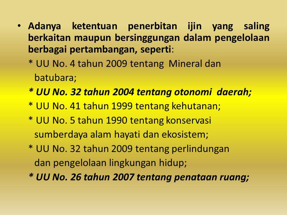 • Adanya ketentuan penerbitan ijin yang saling berkaitan maupun bersinggungan dalam pengelolaan berbagai pertambangan, seperti: * UU No. 4 tahun 2009