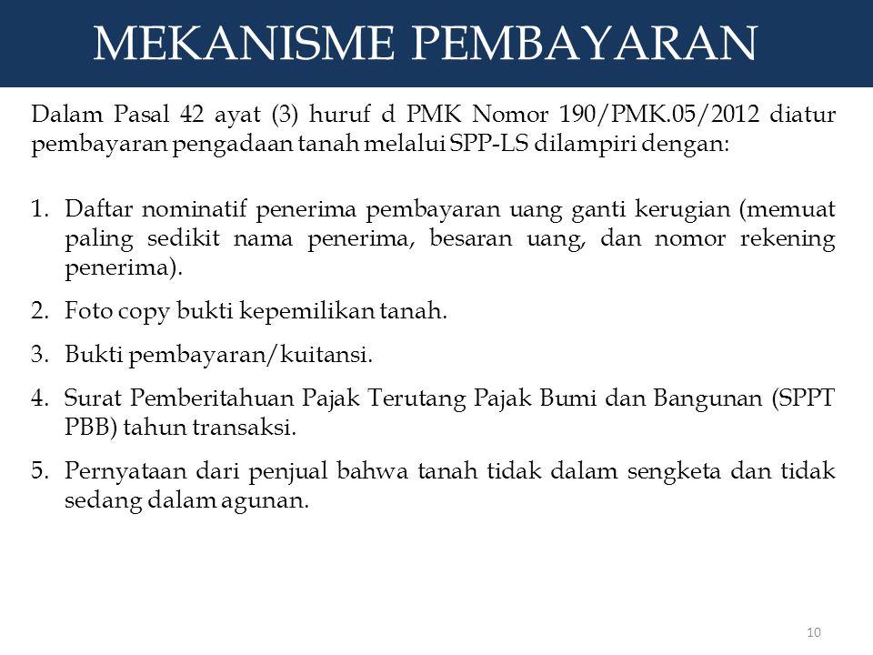 MEKANISME PEMBAYARAN Dalam Pasal 42 ayat (3) huruf d PMK Nomor 190/PMK.05/2012 diatur pembayaran pengadaan tanah melalui SPP-LS dilampiri dengan: 1.Da