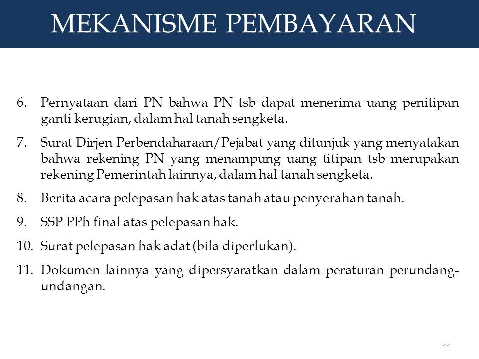 F. MEKANISME PEMBAYARAN lanjutan 6.Pernyataan dari PN bahwa PN tsb dapat menerima uang penitipan ganti kerugian, dalam hal tanah sengketa.Pernyataan d