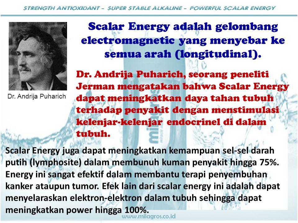 Scalar Energy adalah gelombang electromagnetic yang menyebar ke semua arah (longitudinal). Dr. Andrija Puharich, seorang peneliti Jerman mengatakan ba
