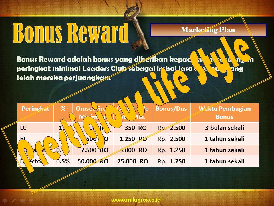 Bonus Reward adalah bonus yang diberikan kepada member dengan peringkat minimal Leaders Club sebagai imbal jasa atas apa yang telah mereka perjuangkan