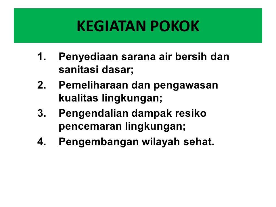 KEGIATAN POKOK 1.Penyediaan sarana air bersih dan sanitasi dasar; 2.Pemeliharaan dan pengawasan kualitas lingkungan; 3.Pengendalian dampak resiko penc