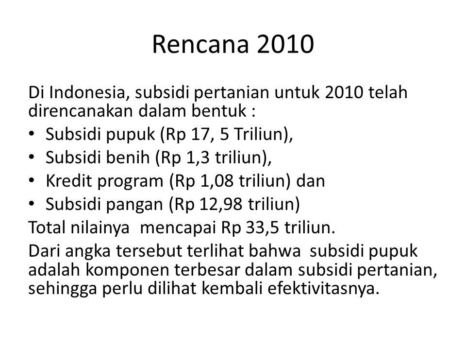 Rencana 2010 Di Indonesia, subsidi pertanian untuk 2010 telah direncanakan dalam bentuk : • Subsidi pupuk (Rp 17, 5 Triliun), • Subsidi benih (Rp 1,3 triliun), • Kredit program (Rp 1,08 triliun) dan • Subsidi pangan (Rp 12,98 triliun) Total nilainya mencapai Rp 33,5 triliun.