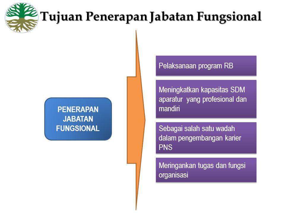 PENERAPAN JABATAN FUNGSIONAL Pelaksanaan program RB Meningkatkan kapasitas SDM aparatur yang profesional dan mandiri Sebagai salah satu wadah dalam pe
