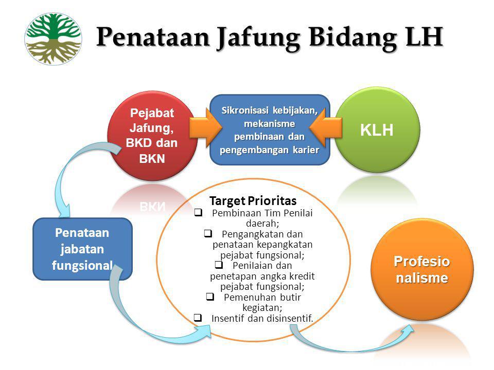 Penataan Jafung Bidang LH Sikronisasi kebijakan, mekanisme pembinaan dan pengembangan karier Target Prioritas  Pembinaan Tim Penilai daerah;  Pengan