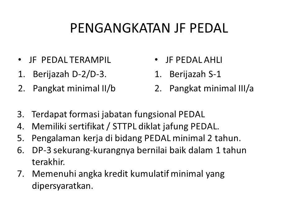 PENGANGKATAN JF PEDAL • JF PEDAL TERAMPIL 1.Berijazah D-2/D-3. 2.Pangkat minimal II/b • JF PEDAL AHLI 1.Berijazah S-1 2.Pangkat minimal III/a 3.Terdap