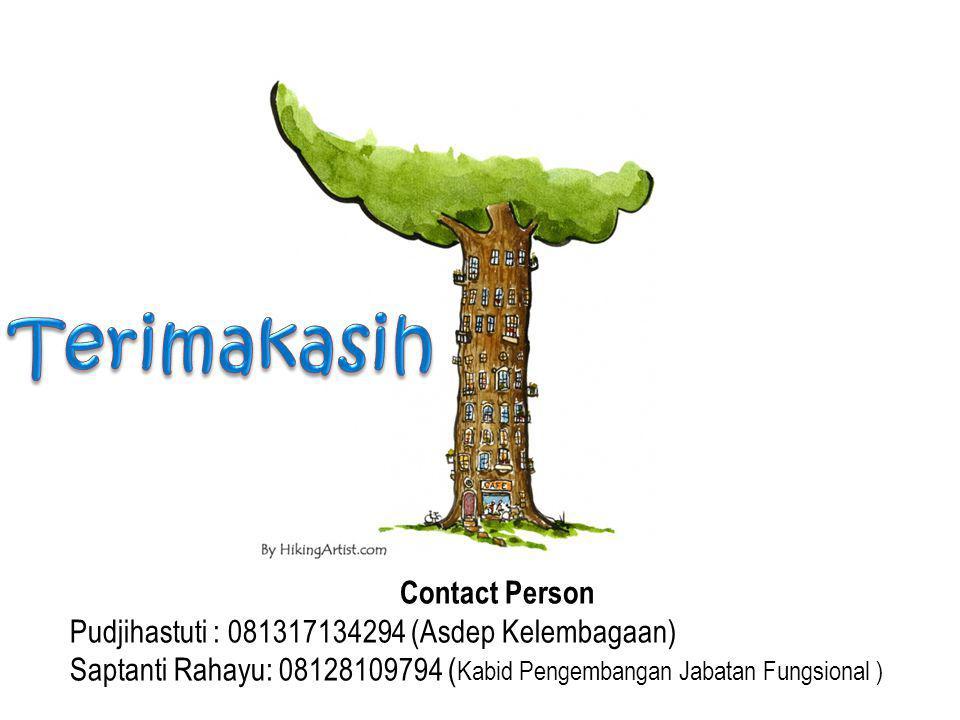 Contact Person Pudjihastuti : 081317134294 (Asdep Kelembagaan) Saptanti Rahayu: 08128109794 ( Kabid Pengembangan Jabatan Fungsional )