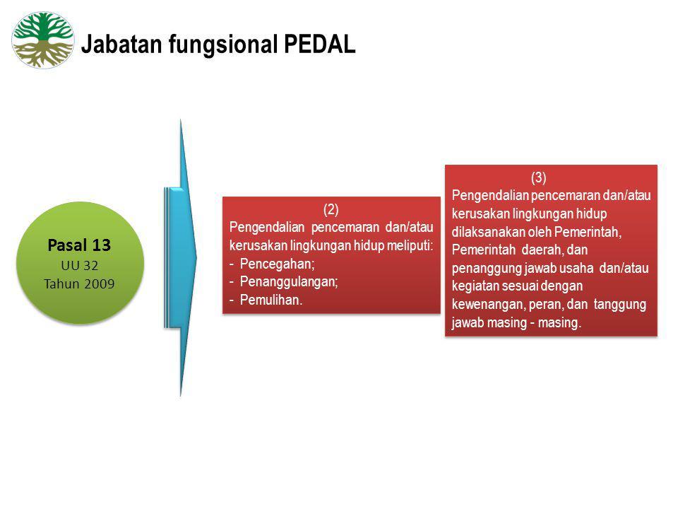 Jabatan fungsional PEDAL Pasal 13 UU 32 Tahun 2009 Pasal 13 UU 32 Tahun 2009 (2) Pengendalian pencemaran dan/atau kerusakan lingkungan hidup meliputi: