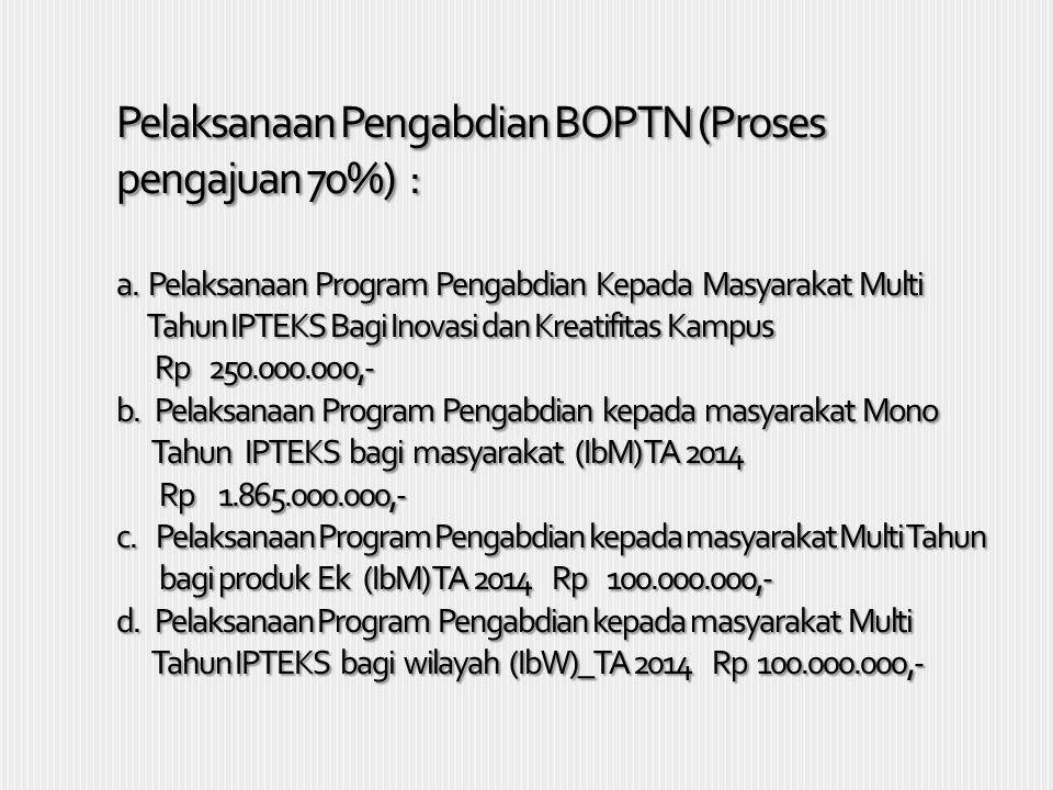 Pelaksanaan Pengabdian BOPTN (Proses pengajuan 70%) : a. Pelaksanaan Program Pengabdian Kepada Masyarakat Multi Tahun IPTEKS Bagi Inovasi dan Kreatifi