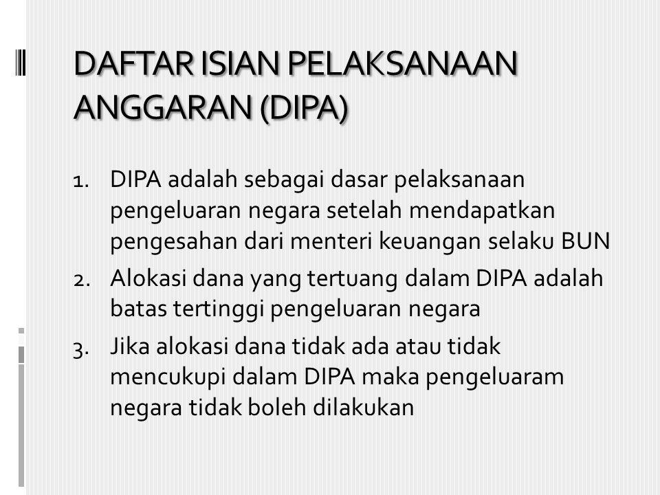 DAFTAR ISIAN PELAKSANAAN ANGGARAN (DIPA) 1. DIPA adalah sebagai dasar pelaksanaan pengeluaran negara setelah mendapatkan pengesahan dari menteri keuan