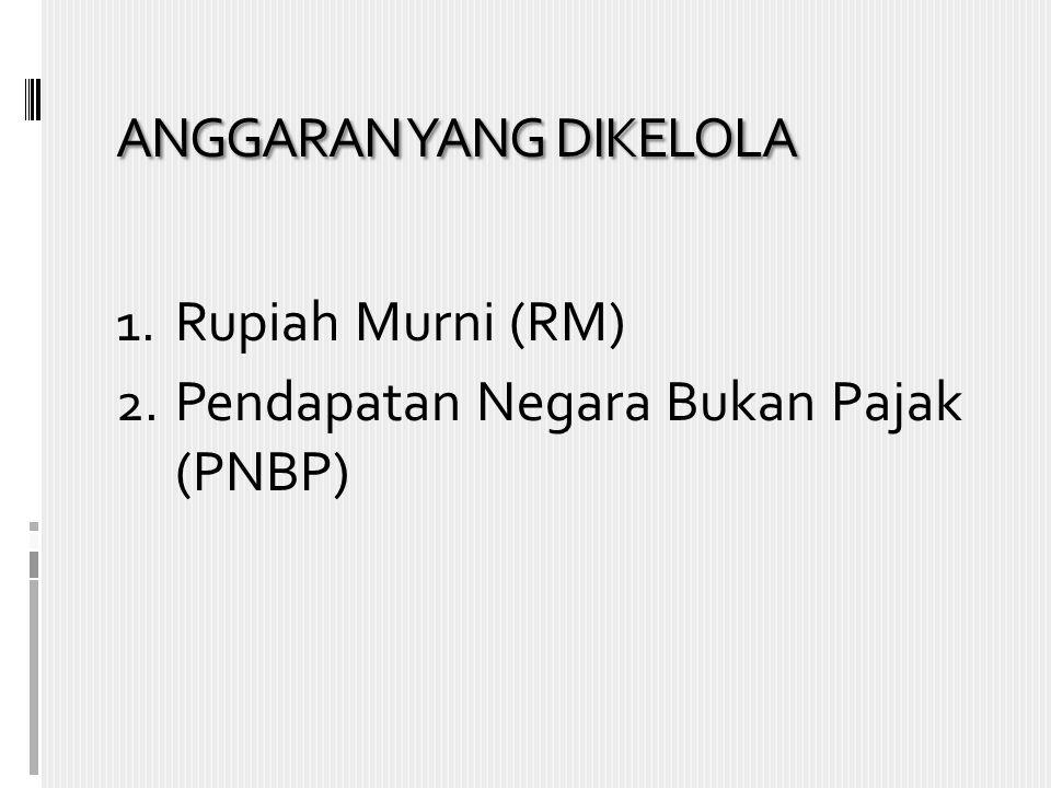 ANGGARAN YANG DIKELOLA 1. Rupiah Murni (RM) 2. Pendapatan Negara Bukan Pajak (PNBP)