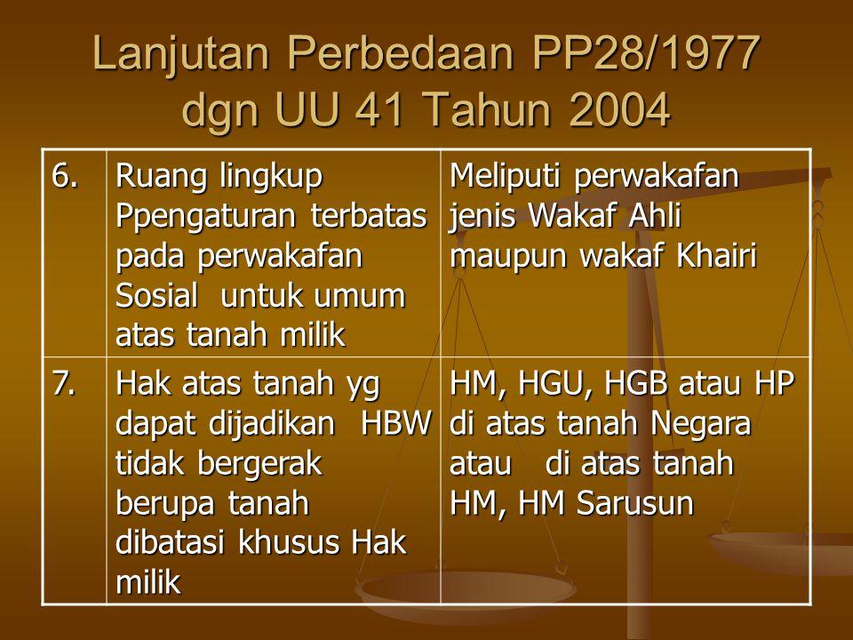 Lanjutan Perbedaan PP28/1977 dgn UU 41 Tahun 2004 6.