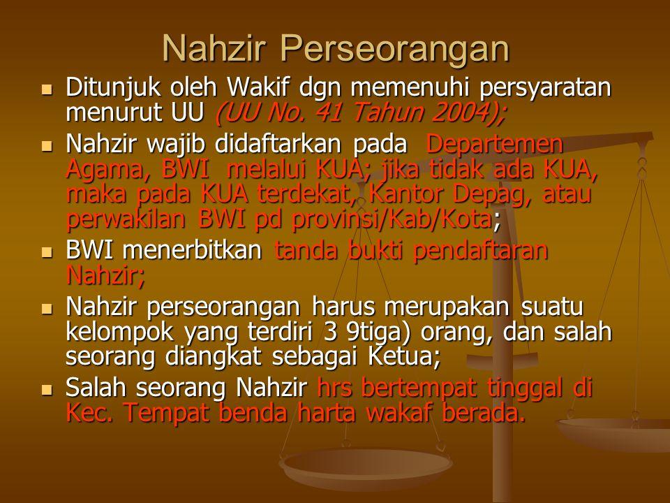 Nahzir Perseorangan  Ditunjuk oleh Wakif dgn memenuhi persyaratan menurut UU (UU No.