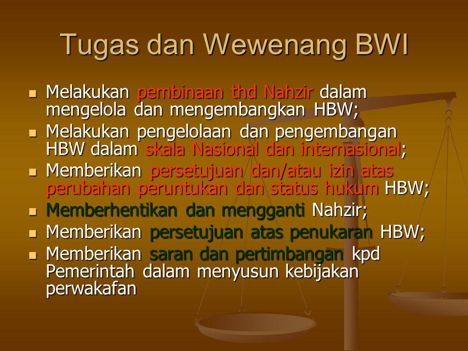 Tugas dan Wewenang BWI  Melakukan pembinaan thd Nahzir dalam mengelola dan mengembangkan HBW;  Melakukan pengelolaan dan pengembangan HBW dalam skala Nasional dan internasional;  Memberikan persetujuan dan/atau izin atas perubahan peruntukan dan status hukum HBW;  Memberhentikan dan mengganti Nahzir;  Memberikan persetujuan atas penukaran HBW;  Memberikan saran dan pertimbangan kpd Pemerintah dalam menyusun kebijakan perwakafan