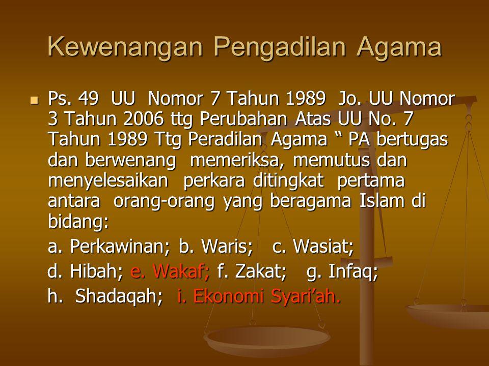 Kewenangan Pengadilan Agama  Ps.49 UU Nomor 7 Tahun 1989 Jo.