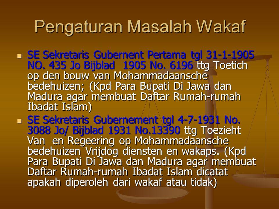 Pengaturan Masalah Wakaf  SE Sekretaris Gubernent Pertama tgl 31-1-1905 NO.