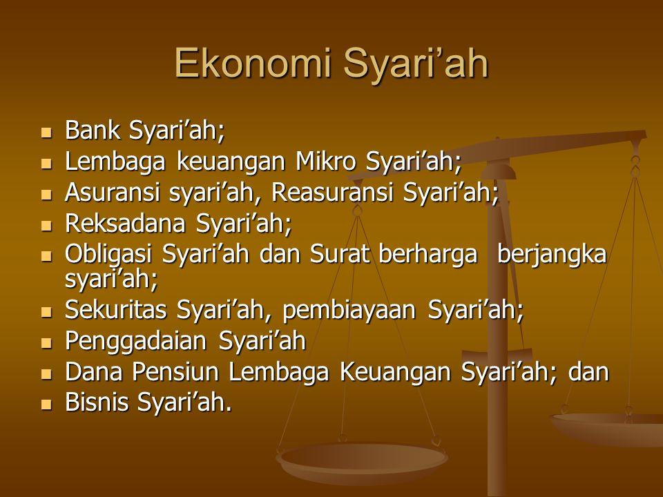 Ekonomi Syari'ah  Bank Syari'ah;  Lembaga keuangan Mikro Syari'ah;  Asuransi syari'ah, Reasuransi Syari'ah;  Reksadana Syari'ah;  Obligasi Syari'ah dan Surat berharga berjangka syari'ah;  Sekuritas Syari'ah, pembiayaan Syari'ah;  Penggadaian Syari'ah  Dana Pensiun Lembaga Keuangan Syari'ah; dan  Bisnis Syari'ah.