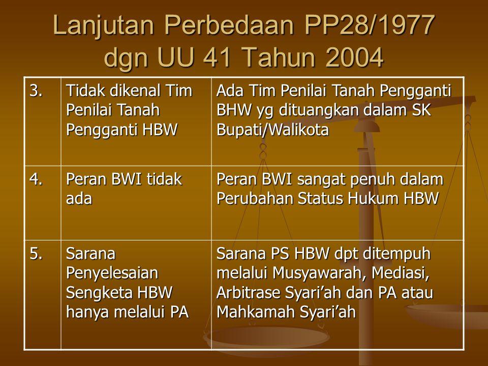 Lanjutan Perbedaan PP28/1977 dgn UU 41 Tahun 2004 3.