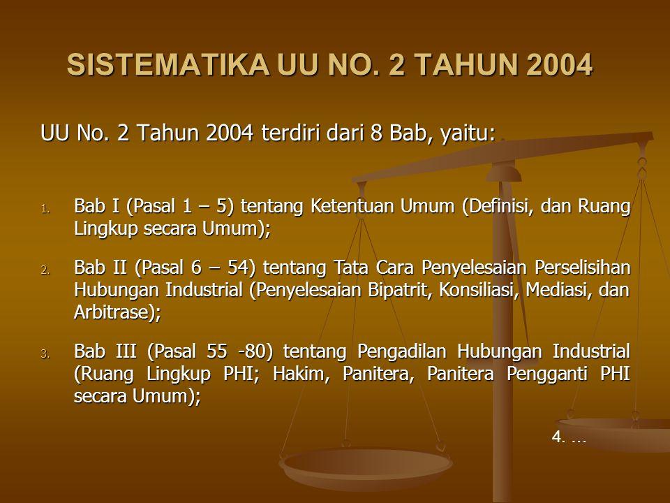 SISTEMATIKA UU NO. 2 TAHUN 2004 UU No. 2 Tahun 2004 terdiri dari 8 Bab, yaitu: 1. Bab I (Pasal 1 – 5) tentang Ketentuan Umum (Definisi, dan Ruang Ling