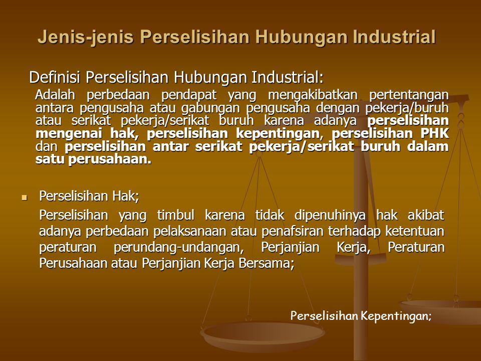 Jenis-jenis Perselisihan Hubungan Industrial  Perselisihan Hak; Perselisihan yang timbul karena tidak dipenuhinya hak akibat adanya perbedaan pelaksa