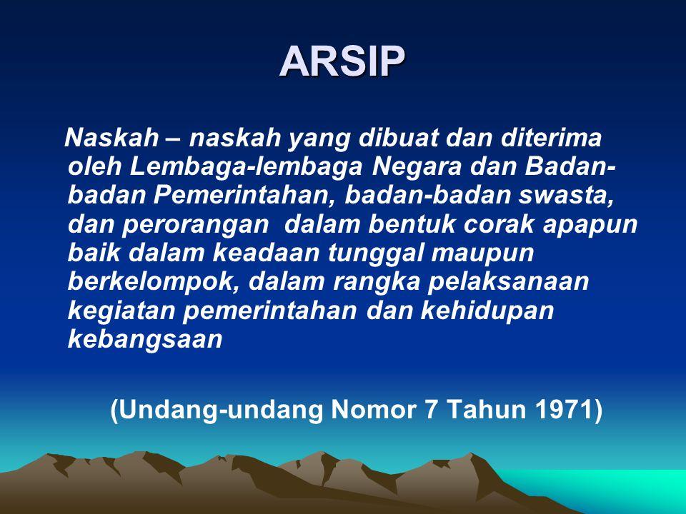 ARSIP Naskah – naskah yang dibuat dan diterima oleh Lembaga-lembaga Negara dan Badan- badan Pemerintahan, badan-badan swasta, dan perorangan dalam ben