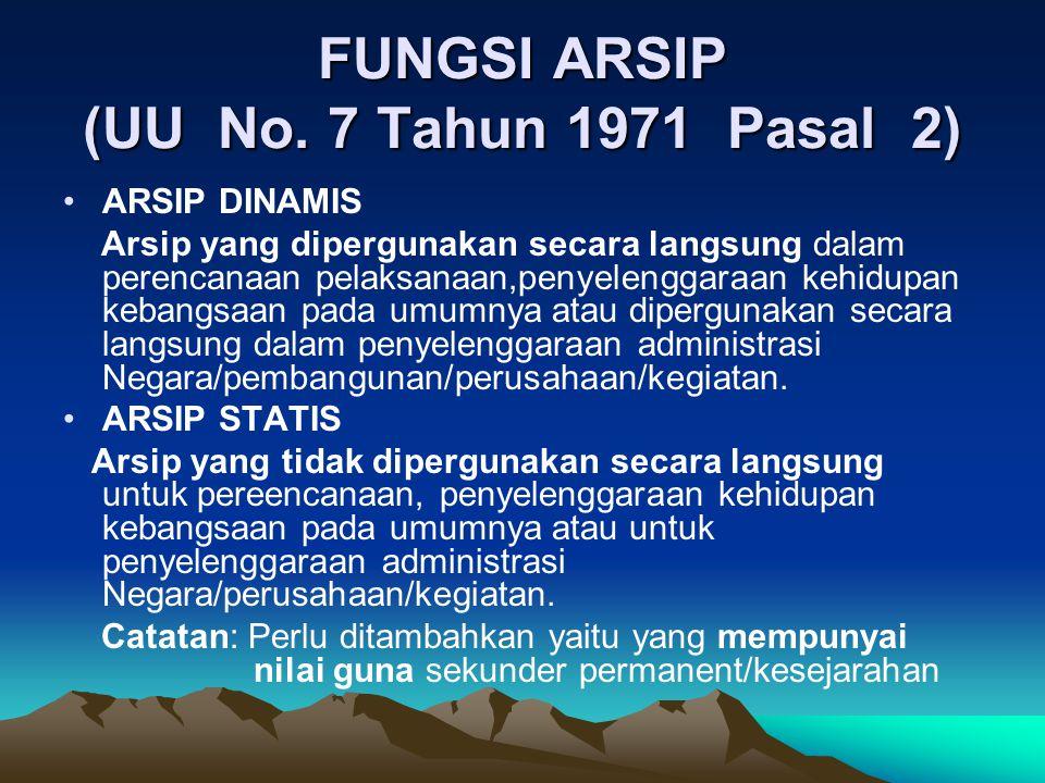 FUNGSI ARSIP (UU No. 7 Tahun 1971 Pasal 2) •ARSIP DINAMIS Arsip yang dipergunakan secara langsung dalam perencanaan pelaksanaan,penyelenggaraan kehidu
