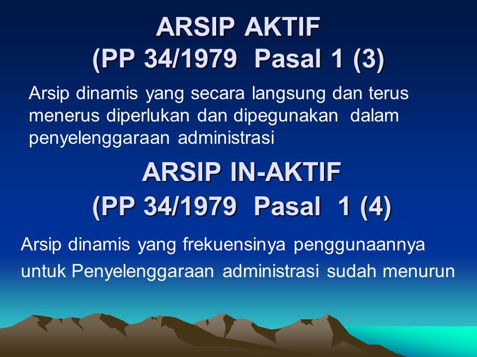 ARSIP AKTIF (PP 34/1979 Pasal 1 (3) Arsip dinamis yang secara langsung dan terus menerus diperlukan dan dipegunakan dalam penyelenggaraan administrasi ARSIP IN-AKTIF (PP 34/1979 Pasal 1 (4) Arsip dinamis yang frekuensinya penggunaannya untuk Penyelenggaraan administrasi sudah menurun