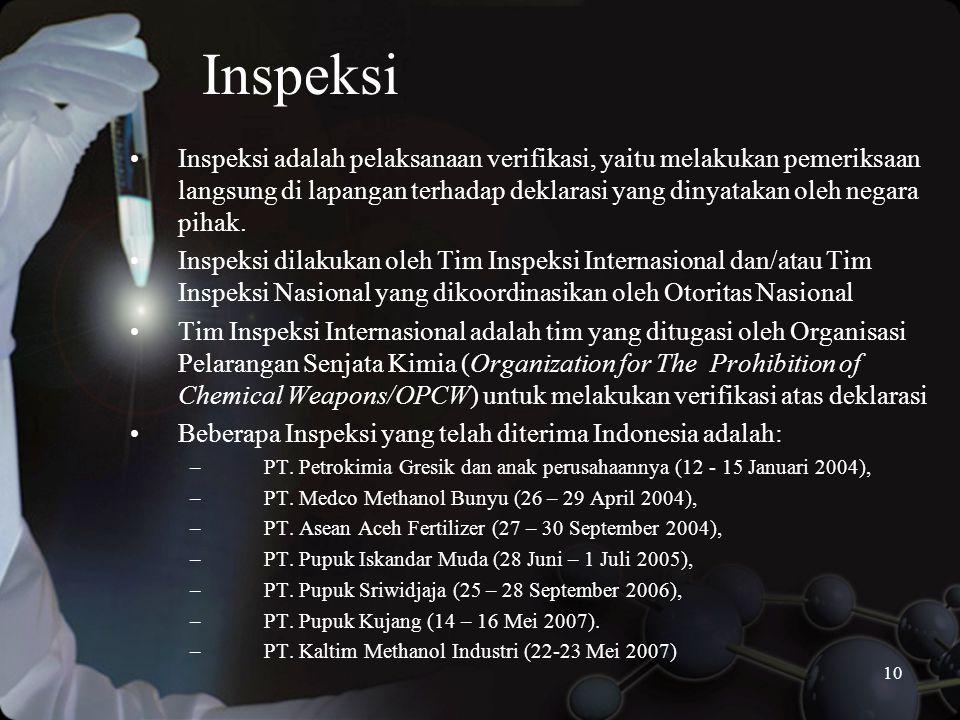 10 Inspeksi •Inspeksi adalah pelaksanaan verifikasi, yaitu melakukan pemeriksaan langsung di lapangan terhadap deklarasi yang dinyatakan oleh negara pihak.
