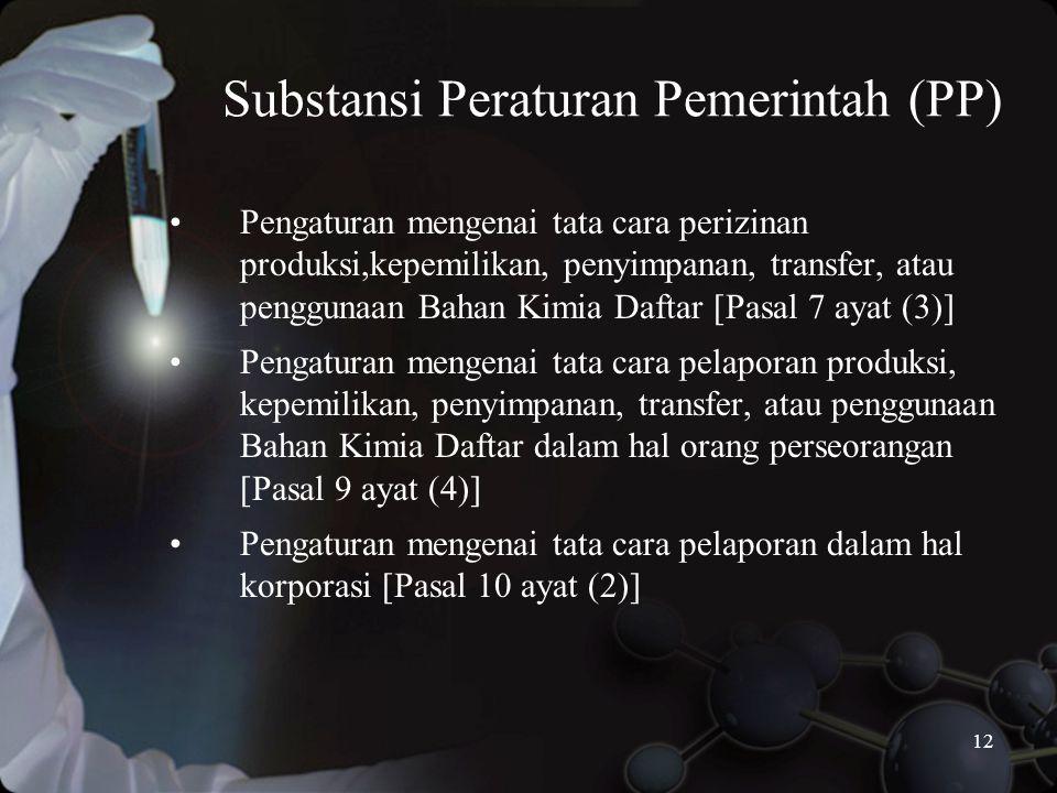 12 Substansi Peraturan Pemerintah (PP) •Pengaturan mengenai tata cara perizinan produksi,kepemilikan, penyimpanan, transfer, atau penggunaan Bahan Kimia Daftar [Pasal 7 ayat (3)] •Pengaturan mengenai tata cara pelaporan produksi, kepemilikan, penyimpanan, transfer, atau penggunaan Bahan Kimia Daftar dalam hal orang perseorangan [Pasal 9 ayat (4)] •Pengaturan mengenai tata cara pelaporan dalam hal korporasi [Pasal 10 ayat (2)]