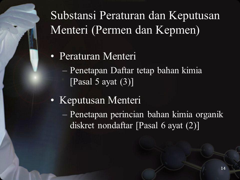 14 Substansi Peraturan dan Keputusan Menteri (Permen dan Kepmen) •Peraturan Menteri –Penetapan Daftar tetap bahan kimia [Pasal 5 ayat (3)] •Keputusan Menteri –Penetapan perincian bahan kimia organik diskret nondaftar [Pasal 6 ayat (2)]