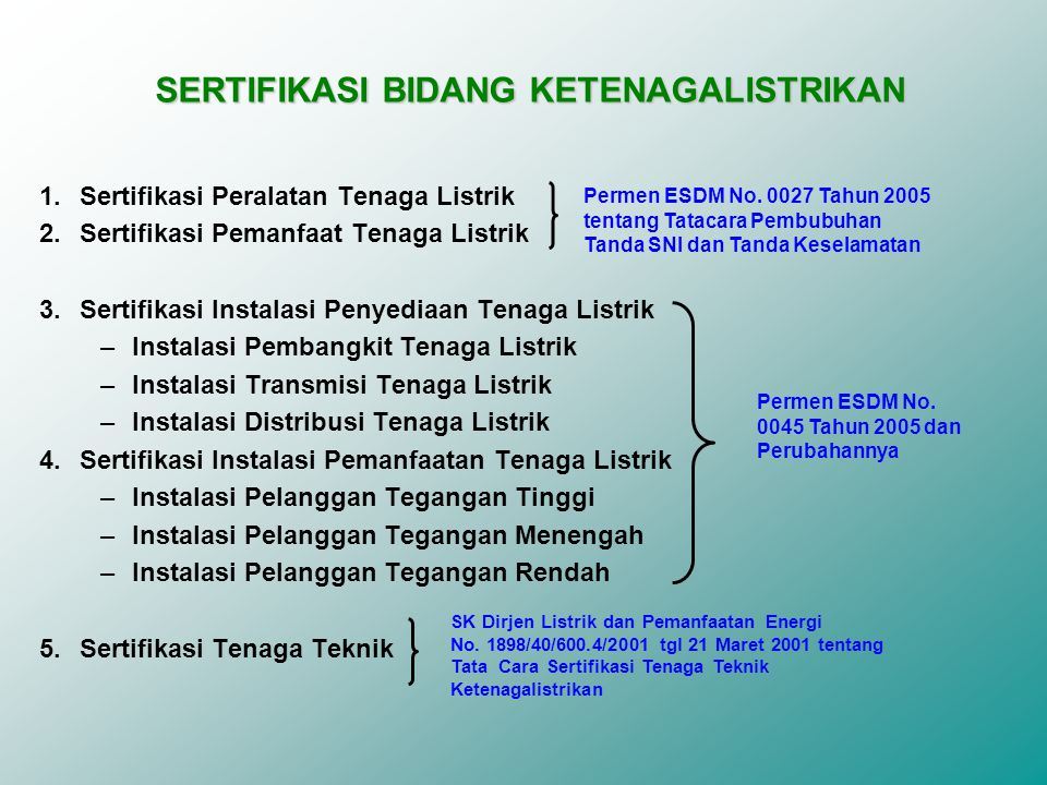 SERTIFIKASI BIDANG KETENAGALISTRIKAN 1.Sertifikasi Peralatan Tenaga Listrik 2.Sertifikasi Pemanfaat Tenaga Listrik 3.Sertifikasi Instalasi Penyediaan Tenaga Listrik –Instalasi Pembangkit Tenaga Listrik –Instalasi Transmisi Tenaga Listrik –Instalasi Distribusi Tenaga Listrik 4.Sertifikasi Instalasi Pemanfaatan Tenaga Listrik –Instalasi Pelanggan Tegangan Tinggi –Instalasi Pelanggan Tegangan Menengah –Instalasi Pelanggan Tegangan Rendah 5.Sertifikasi Tenaga Teknik Permen ESDM No.