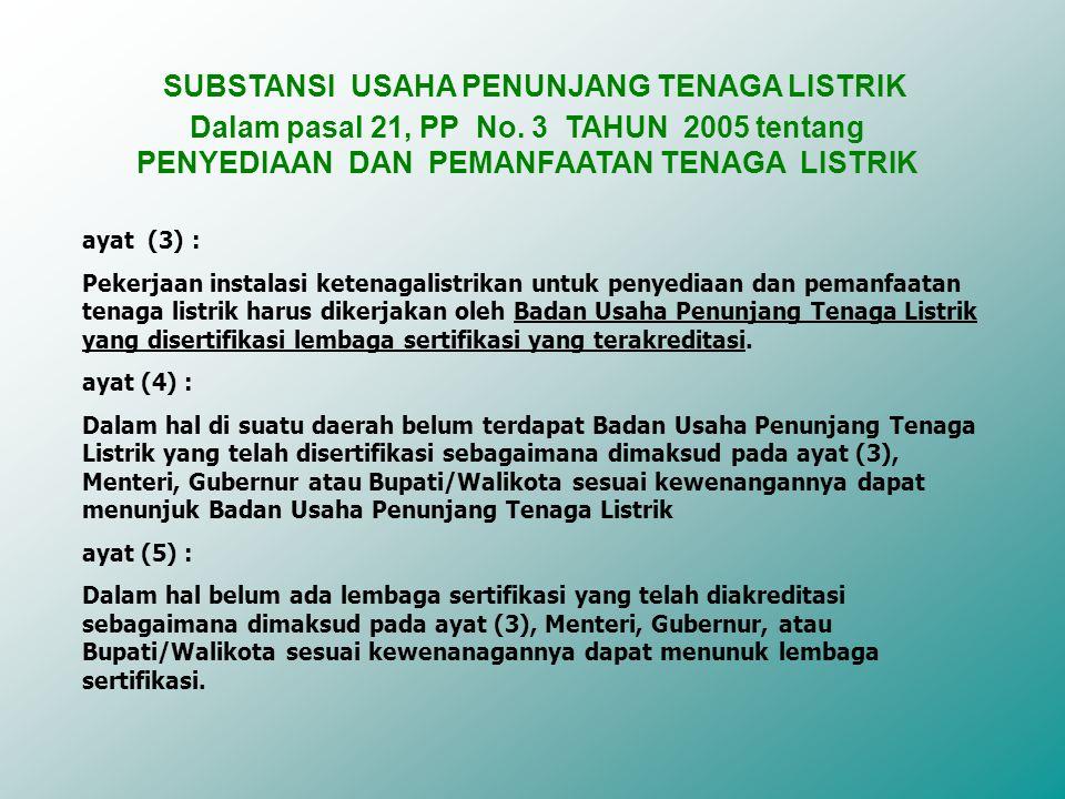 ayat (3) : Pekerjaan instalasi ketenagalistrikan untuk penyediaan dan pemanfaatan tenaga listrik harus dikerjakan oleh Badan Usaha Penunjang Tenaga Listrik yang disertifikasi lembaga sertifikasi yang terakreditasi.