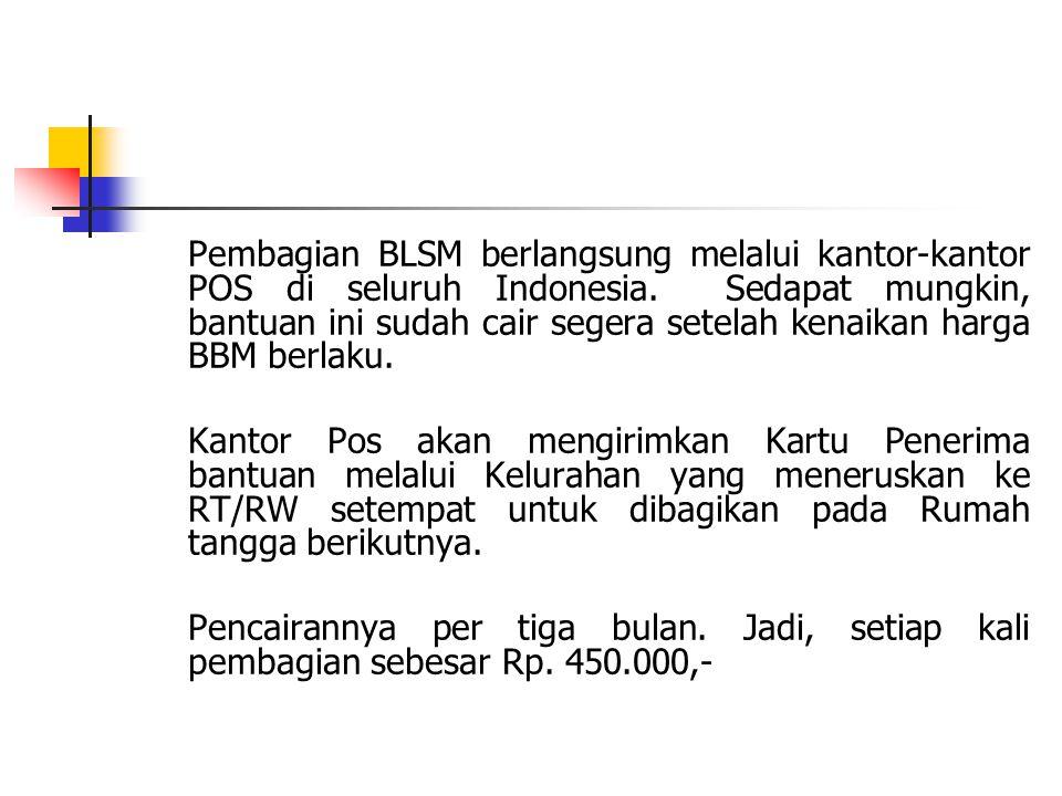 Pembagian BLSM berlangsung melalui kantor-kantor POS di seluruh Indonesia. Sedapat mungkin, bantuan ini sudah cair segera setelah kenaikan harga BBM b