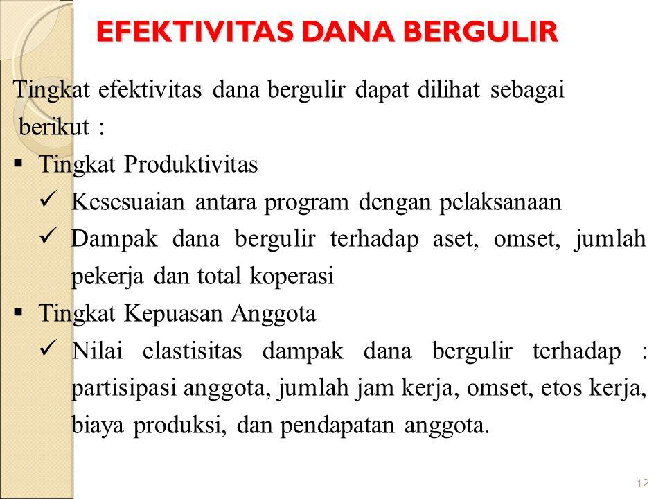 EFEKTIVITAS DANA BERGULIR 12 Tingkat efektivitas dana bergulir dapat dilihat sebagai berikut :  Tingkat Produktivitas  Kesesuaian antara program den