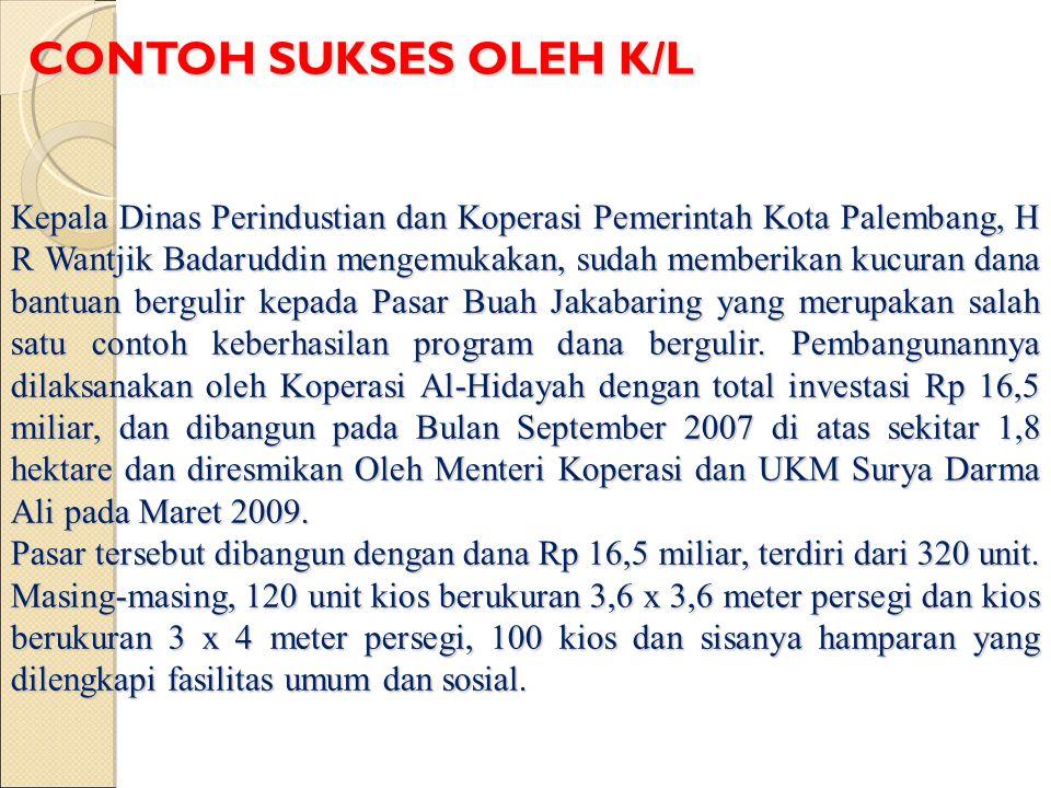 Kepala Dinas Perindustian dan Koperasi Pemerintah Kota Palembang, H R Wantjik Badaruddin mengemukakan, sudah memberikan kucuran dana bantuan bergulir