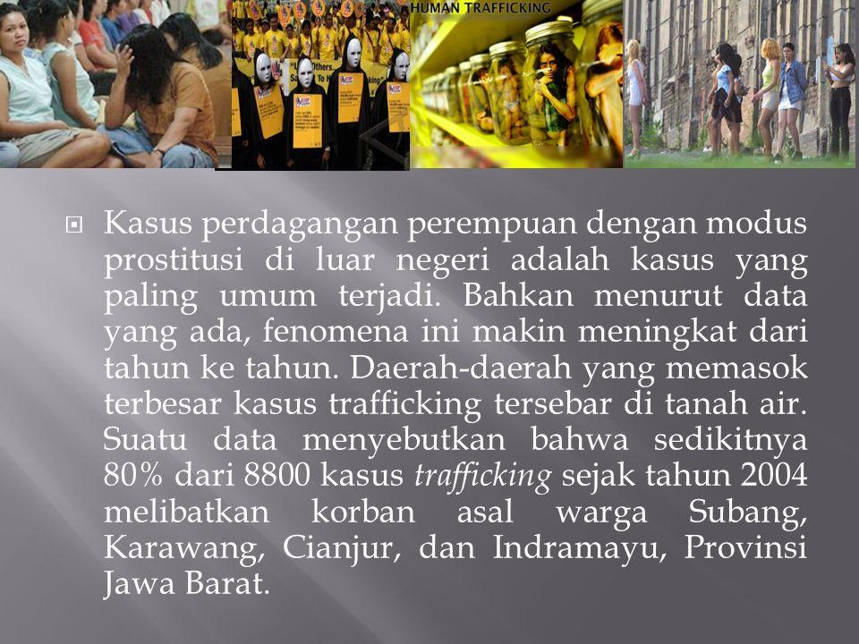  Kasus perdagangan perempuan dengan modus prostitusi di luar negeri adalah kasus yang paling umum terjadi.