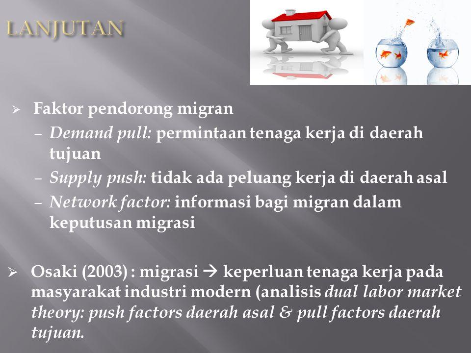  Teori Ravenstein, Todaro, Stark  Faktor ekonomi pendorong utama migrasi  Dampak positif migrasi > dampak negatif.