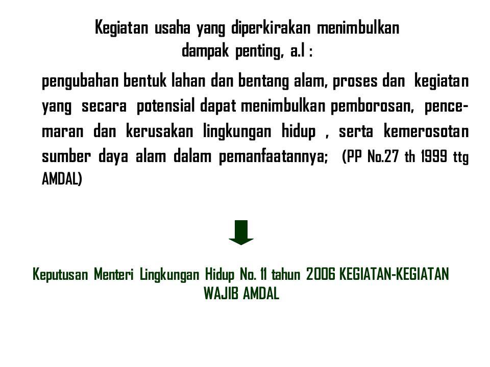 Keputusan Menteri Lingkungan Hidup No. 11 tahun 2006 KEGIATAN-KEGIATAN WAJIB AMDAL Kegiatan usaha yang diperkirakan menimbulkan dampak penting, a.l :