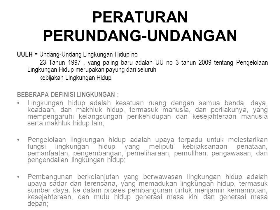 PERATURAN PERUNDANG-UNDANGAN UULH = Undang-Undang Lingkungan Hidup no 23 Tahun 1997, yang paling baru adalah UU no 3 tahun 2009 tentang Pengelolaan Li