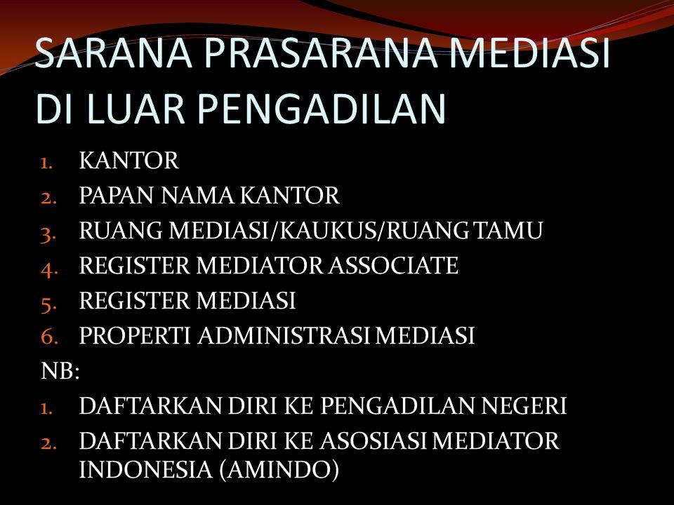 SARANA PRASARANA MEDIASI DI LUAR PENGADILAN 1. KANTOR 2. PAPAN NAMA KANTOR 3. RUANG MEDIASI/KAUKUS/RUANG TAMU 4. REGISTER MEDIATOR ASSOCIATE 5. REGIST