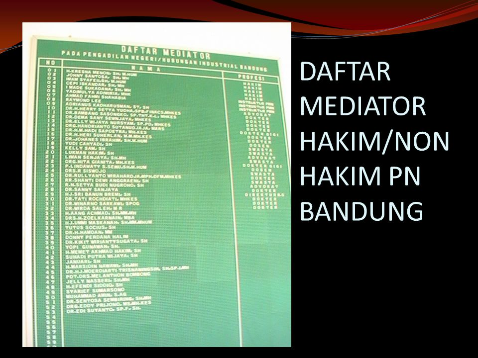 DAFTAR MEDIATOR HAKIM/NON HAKIM PN BANDUNG