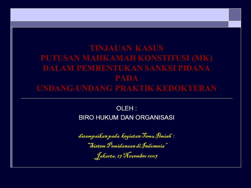 TINJAUAN KASUS PUTUSAN MAHKAMAH KONSTITUSI (MK) DALAM PEMBENTUKAN SANKSI PIDANA PADA UNDANG-UNDANG PRAKTIK KEDOKTERAN OLEH : BIRO HUKUM DAN ORGANISASI disampaikan pada kegiatan Temu Ilmiah : Sistem Pemidanaan di Indonesia Jakarta, 27 November 2007