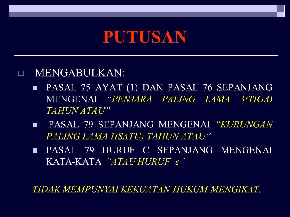 KEPUTUSAN MAHKAMAH KONSTITUSI NNOMOR 4/PUU-V/2007 PERIHAL PENGUJIAN UU NOMOR 29 TAHUN 2004 TENTANG PRAKTIK KEDOKTERAN TERHADAP UUD NEGARA RI TAHUN 1