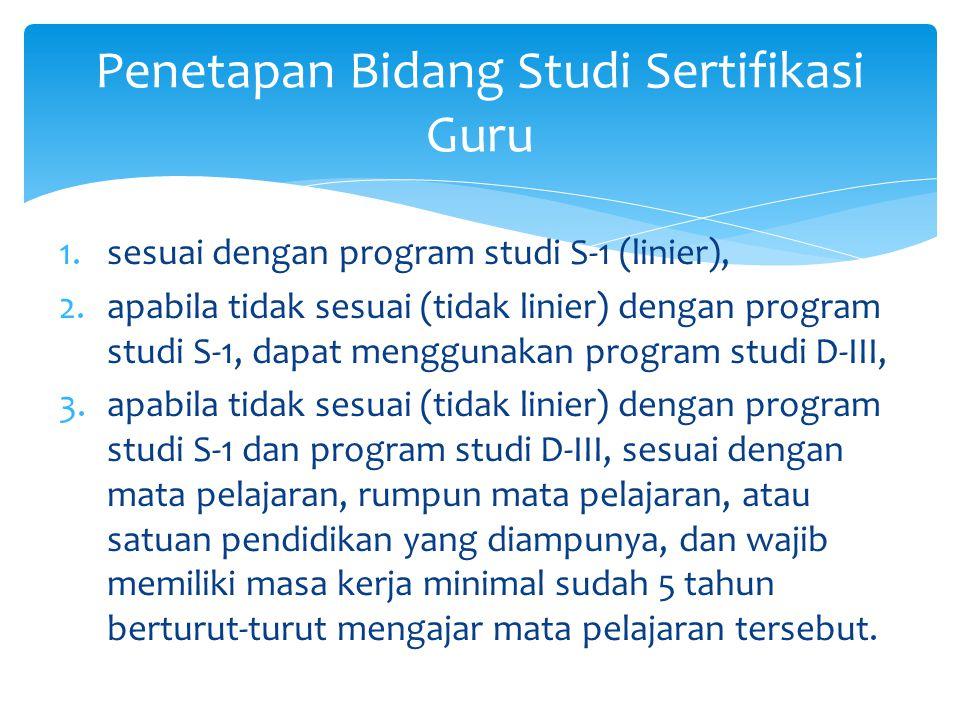 1.sesuai dengan program studi S-1 (linier), 2.apabila tidak sesuai (tidak linier) dengan program studi S-1, dapat menggunakan program studi D-III, 3.a