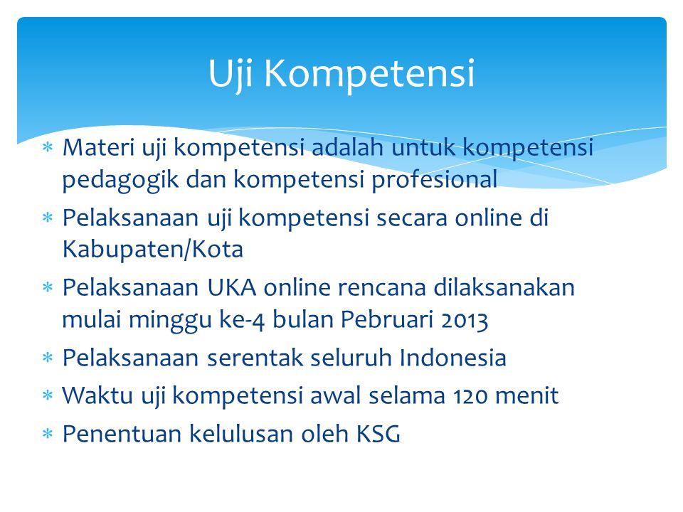  Materi uji kompetensi adalah untuk kompetensi pedagogik dan kompetensi profesional  Pelaksanaan uji kompetensi secara online di Kabupaten/Kota  Pe